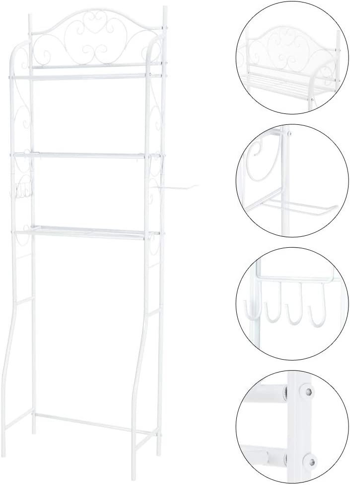 Freestanding Metal Bathroom Cabinet Tower Shelf Henf Over The Toilet Storage Rack Multifunctional Toilet Rack 3 Shelf Bathroom Space Saver Bathroom Organizer