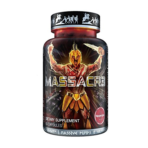 Price comparison product image MASSACR3 Muscle Builder & Laxogenin Supplement w / Superior Absorption / Mass Muscle Building & Recomping Formula w / Nitric Oxide Stimulator VASO-6 & Urolithin B for Natural Body Building