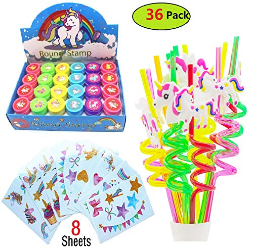 Unicorn Party Favors For Goodie Bags-12 Reusable Unicorn Drinking Plastic Straws-24 Pcs Unicorn Stampers-8 Sheets Unicorn Tattoos,Magical Unicorn Themed Birthday Party Supplies