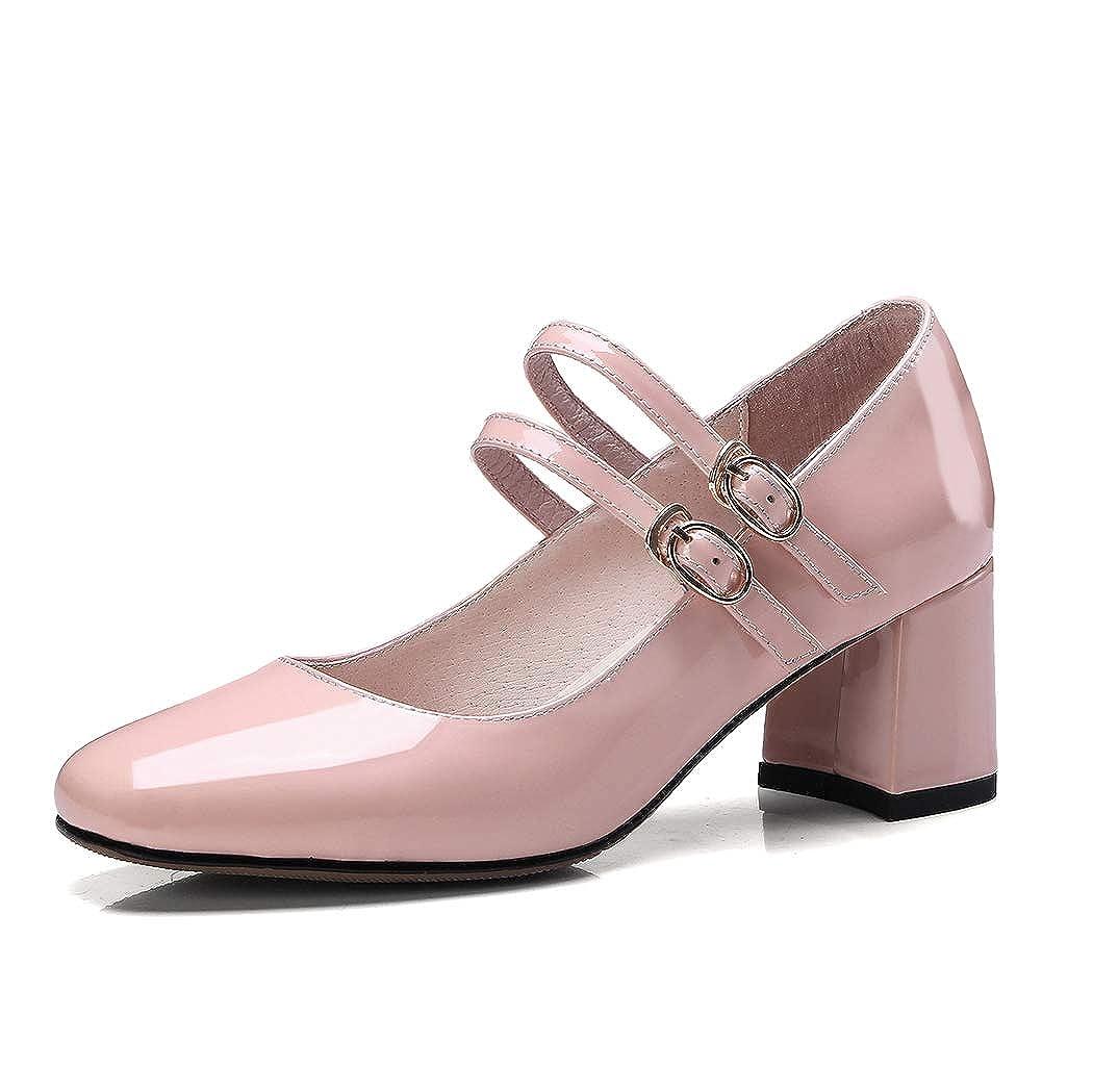Frühling und Herbst Frauen High Heels tragen Mary Jane Schuhe Retro weinrot einzelne Schuhe Wild Flowers Square Kopf dick mit hohen Leder High Heels  | Angenehmes Gefühl  | Internationale Wahl