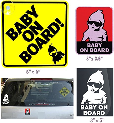 Safety 1st Baby On Board Sign, Yellow and Smart Reflective vinyl Sticker Car Warning Sign, Red (Hello Kitty Gangster)