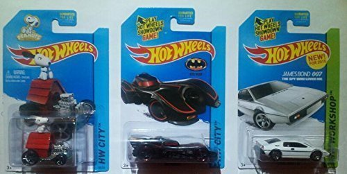2015 Hot Wheels Snoopy, Batmobile, James Bond 007 Lotus Esprit S1 - Lot of 3!