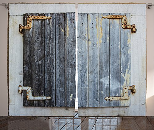 Shutters Decor Curtains by Ambesonne, Rustic Wooden Window Shutters with Shabby Paint Rusty Antique Traditional Village Picture, Living Room Bedroom Decor, 2 Panel Set, 108W X 84L Inches, Blue
