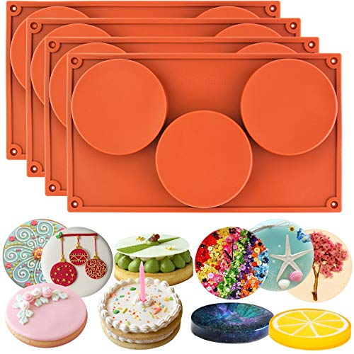 Candy 4 Cavities Mold - Funshowcase 3-Cavity Large Round Disc Candy Silicone Molds 4-Bundle