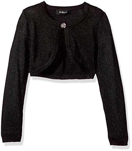 (Amy Byer Girls' Big 7-16 Long Sleeve Metallic Cardigan, Black, M)