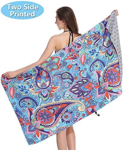 - Sand Proof Microfiber Beach Towels - Quick Fast Dry Beach Towel Oversized Compact Blanket for Outdoor Travel Swim Pool Camping Tesalate Sand Free Lightweight Personalized