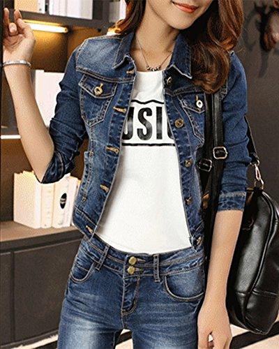 Blu Oversize Fit Cappotto Jeans Lunga Giacca Manica Casual Slim Donna In 5fwaqv5