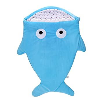 Seaskyer Cartoon Shark Sleeping Bag Anti-Kicking Newborn Sacks Swaddle Blanket, Stroller Blanket Cotton