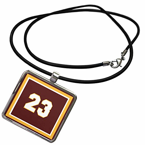 3dRose 777images Popular Sports Colors and Numbers - Number 23 in white trimmed in gold on a maroon background outer trim white, gold, maroon - Necklace With Rectangle Pendant (ncl_33682_1)