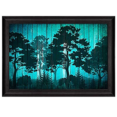 Dazzling Design, Professional Creation, Illustration of Silhouette Trees in a Forest Over Blue Wood Panels Nature Framed Art