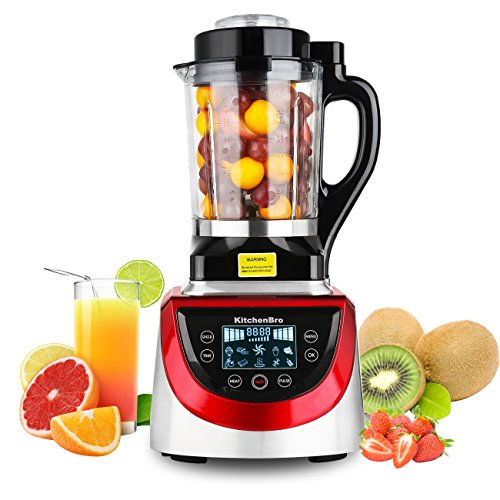 KitchenBro Professional Heating Blender 2300W Matel Base 1.8L Glass Jar 2.5HP Powerful Motor Recipe Smoothie/Ice Crush/Soybean Milk/Hot Soup/Baby Food 32,000RPM ETL Certified Commercial Heavy - Glasses Commercial