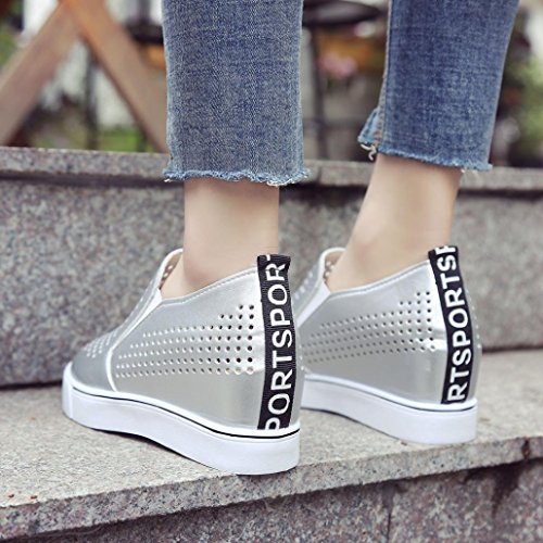 AIMTOPPY HOT Sale Women's Solid Color Hollow Out Increasing Wedges Raised Pointed Shoes Casual Shoes (US:5, Silver) by AIMTOPPY (Image #3)