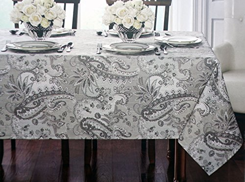 Waterford Linens, Classical Jacobean Floral Paisley Pattern Shades of Gray Cream White, Fabric Everyday Tablecloth -- Thatcher, Silver -- 70 Inches Round