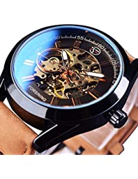 Mens Skeleton Automatic Mechanical Wrist Watch Analog Casual Brown Leather Clock