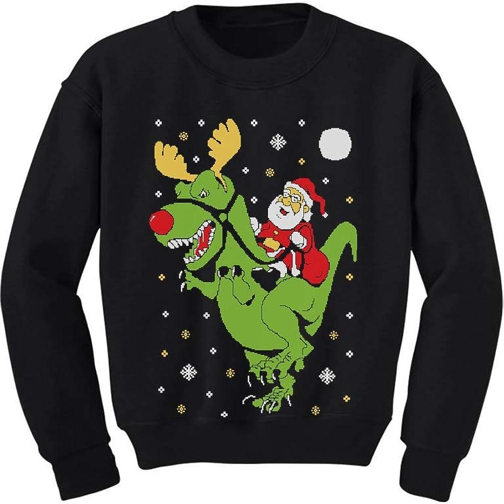 Embroidered Dinosaur Christmas Holiday Sweater Funny Dinosaur Sweatshirt