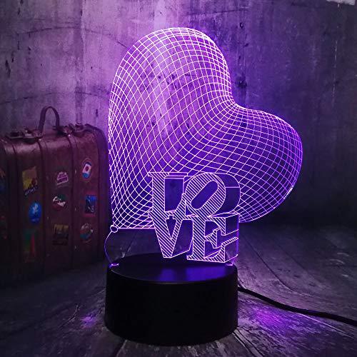 2019 Romantic 3D Love Heart LED Night Light Romantic Atmosphere Desk Lamp Wedding Decoration Lovers Couple Sweetheart Christmas Gift(Love)