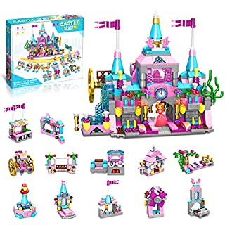 HOMOFY Girls Princess Toys , 568pcs Building Blocks Toy , 25 Models Pink Princess Castle Kit Toys Gifts for Girl , STEM Construction Building Toys for Girls Age 6 7 8 -12 Years Old