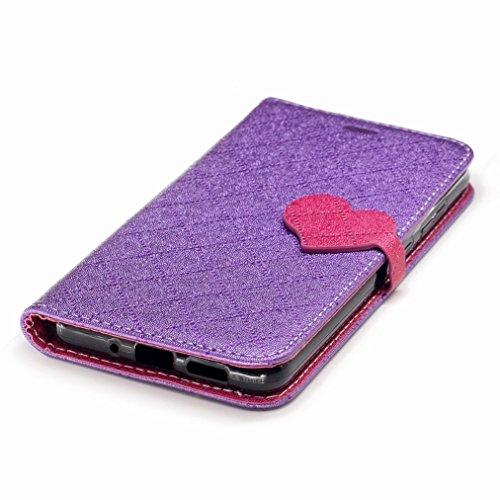 Yiizy Huawei P10 Lite Custodia Cover, Amare Design Sottile Flip Portafoglio PU Pelle Cuoio Copertura Shell Case Slot Schede Cavalletto Stile Libro Bumper Protettivo Borsa (Viola)