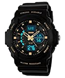 Auspicious beginning Durable outdoor series waterproof multi-functional dual time LED sports watch, gold
