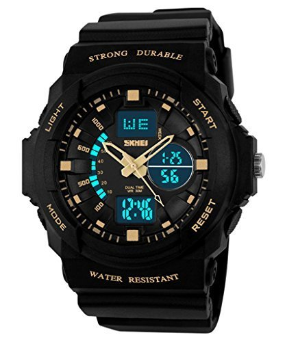 Auspicious beginning Durable outdoor series waterproof multi-functional dual time LED sports watch, gold by Auspicious beginning