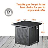 TACKLIFE Propane Fire Pit Table, Outdoor Companion, 28 Inch 50,000 BTU Auto-Ignition Gas Fire Pit Table with Cover, ETL Certification and Strong Striped Steel Surface, as Table in Summer, Stove in Win