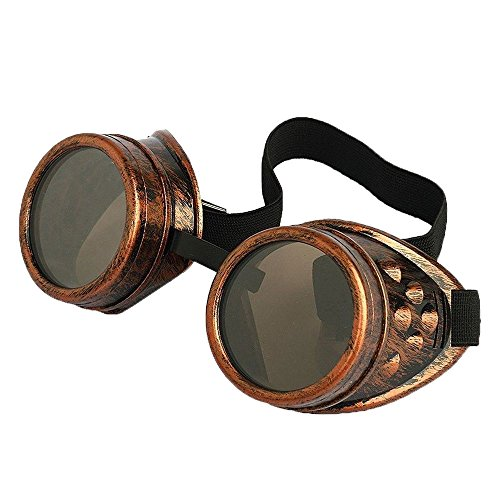 Leegoal Cyber Goggles Steampunk Cosplay Vintage Goggles Rustic (Copper)