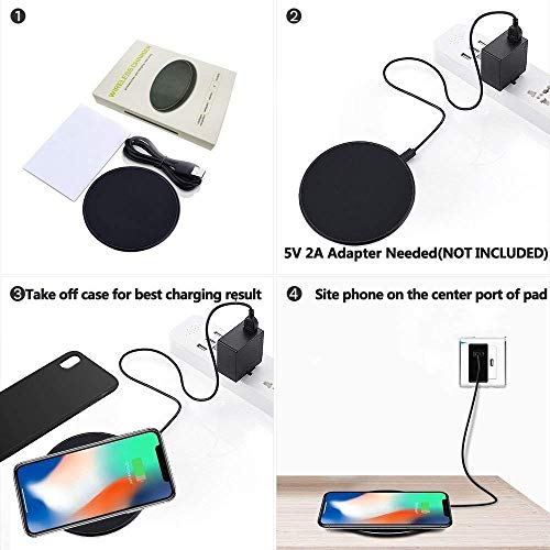 2Pcs Wireless Charger,10W/7.5W/5W S6/S7/S8/S9/S10/S20 Note 10 Wireless Charger Pad Compatible with iphone8/8plus iPhone X Samsung Galaxy S20/S10/S9/S8/S7/S6/Edge/Plus/S6 Active