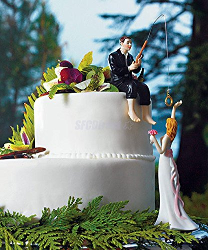 xlpace Cake Hooked on Love Fishing Groom Catching Bride Funny Wedding Cake Topper Decor
