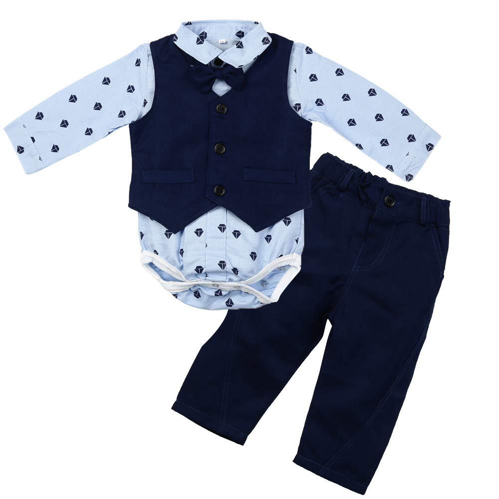 d08cf6a59 feiXIANG Conjunto de Ropa para niños bebé niño bebé Pajarita Caballero  Abrigo Mono + Chaleco + Pantalones Ropa Traje Elegante Adecuado para  Bautizo  ...