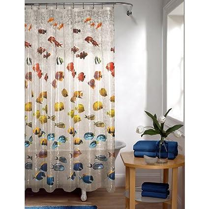 Amazon Mainstays Colorful Tropical Fish PEVA Shower Curtain
