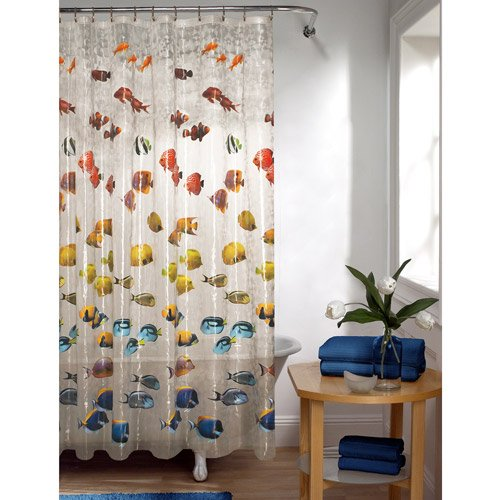 [Mainstays Colorful Tropical Fish PEVA Shower Curtain Clear 70x72] (Az Tropical Fish)