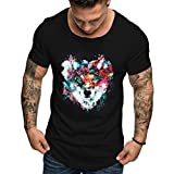 aiNMkm Basic Tops Plus Size,Summer Men's Fashion Casual Color Round O-Neck Print Short Sleeve Top Blouse,Black,2XL