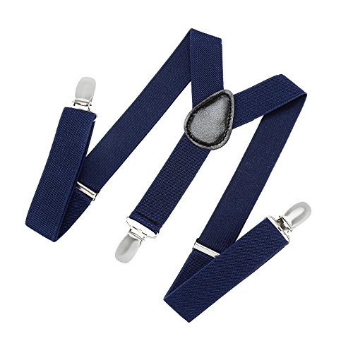 Suspenders for Kids and Baby Adjustable Elastic Solid Color - Navy (30 (Boys Navy Suspenders)