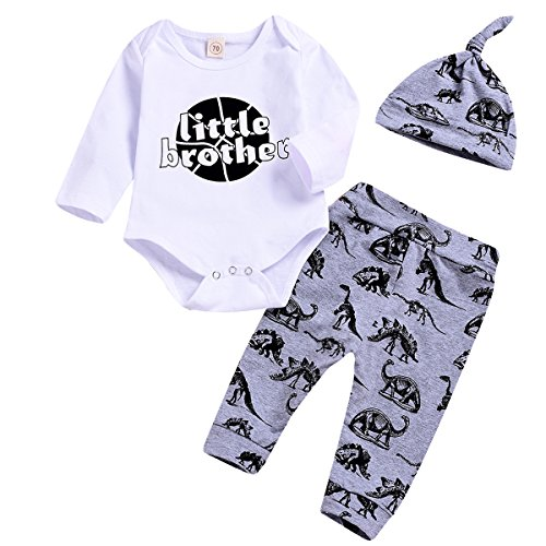 3PCS Infant Toddler Baby Boys Outfits Little Brother Print Romper Long Sleeve T +Dinosaur Long Pants with Hat Summer Clothes Set (White, 0-6 Months) - Little Brother Dinosaur