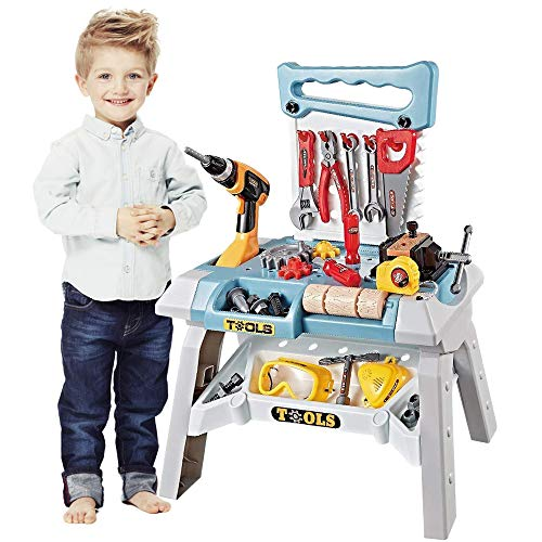 Toy Power Workbench, King Size 83 Pieces Kids Power Tool Bench Construction Set with Tools Electric Drill and Toy Helmet, Toddlers Toy Shop Tools for Boys