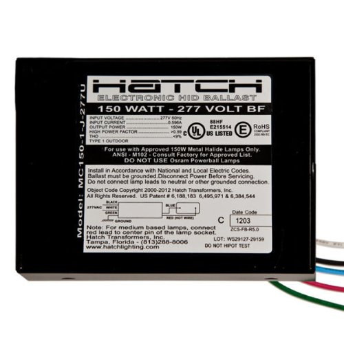 Hatch MC150-1-J-277U - 150 Watt - 277 Volt - Electronic Metal Halide Ballast - ANSI M102/M142/S56 - Bottom Feed Mounting With Studs by Hatch (Image #1)
