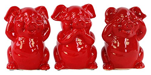 Urban Trends Ceramic Standing Pig No Evil (Hear/Speak/See) Figurine with Gloss Finish (Assortment of 3), Red