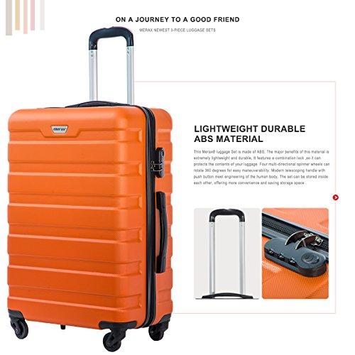 Merax Luggage Set 3 Piece Lightweight Spinner Suitcase (Orange) by Merax (Image #3)
