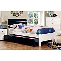 Furniture of America Emely Full Platform Bed with Trundle in Blue