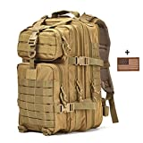 Tactical Backpack - Small Military Tactical Backpack 3 Day Assault Pack Army Molle Bug Out Bag Backpacks Hunting Rucksacks 34L Tan