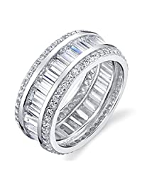 925 Sterling Silver wide Baguette and Round Micro Pave Eternity Wedding Band by Minxwinx