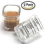 Espresso Shot Measuring Liquid Heavy Glass Cup for Baristas 2oz 1,8'' x 1,8 ''x 2,6'' inch (2 pack)