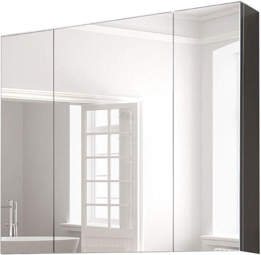Armarios con espejo Mueble Espejo de Acero Inoxidable Espejo de baño de Pared con lámpara Estante de baño de Gran Capacidad alacena Espejos de Aumento de Pared (Color : Silver, Size :