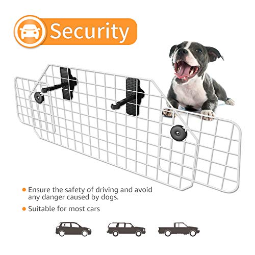 SUKI&SAMI Dog Car Barrier Adjustable Pet Barrier for SUVs,Cars and Vehicles,Heavy Duty Wire Adjustable,Smooth Design, White