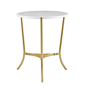 Sleek 20 Inch Round White Marble Top Gold Metal Accent Side End Table    Includes Modhaus