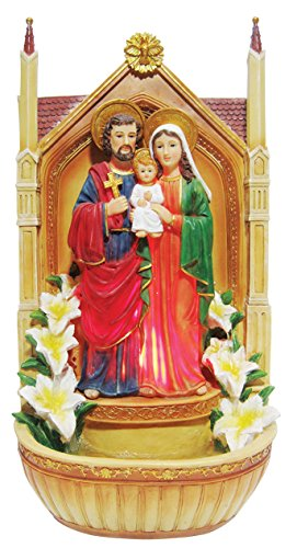19 Inch Holy Family with Light and Water Fountain Garden Statue Garden Decoration by Love's Gift