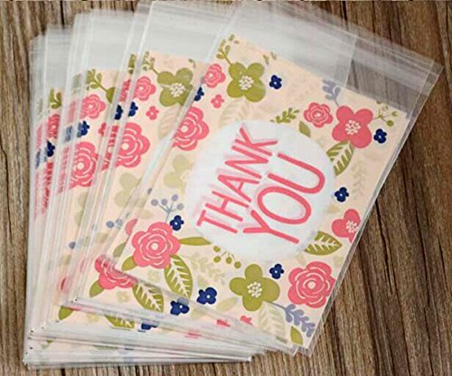 Yunko 100pcs Pink Flower Thank YOU Cookie Packaging Self-adhesive Plastic Bags for Biscuits Package Good for Bakery Party Cz024