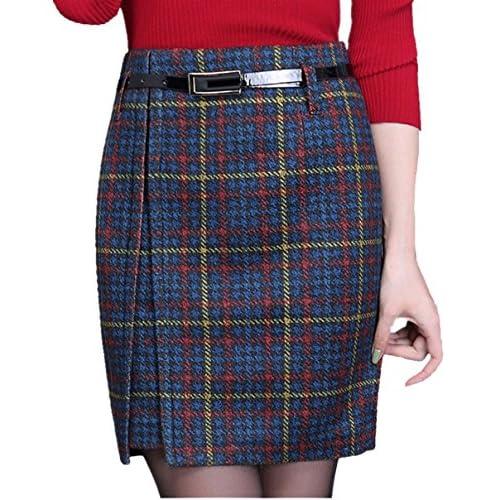 wholesale dealer 8be8f 7954a chic Cheerlife Damen Bleistift Rock Kariert Röcke Wollrock ...