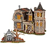 Department 56 The Munsters Village 1313 Mockingbird Lane Lit Building and Gate Figurine Set, 8.66 Inch, Multicolor