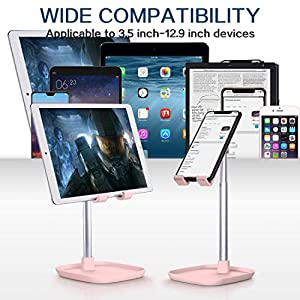 Cell Phone Stand, Tekpluze Angle Height Adjustable Cell Phone Stand for Desk,Thick Case Friendly Phone Holder Stand for Desk, Compatible with All Mobile Phones (Pink) (Color: Pink)